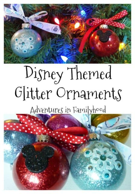Disney Themed Glitter Ornaments   Disney DIY and Crafts